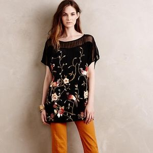 Anthropologie Embroidered Blooms Top